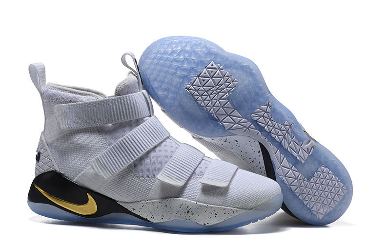 Nike LeBron Soldier 11 White Grey Gold Shoes