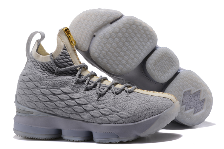 Nike Lebron 15 Wolf Grey Gold Shoes