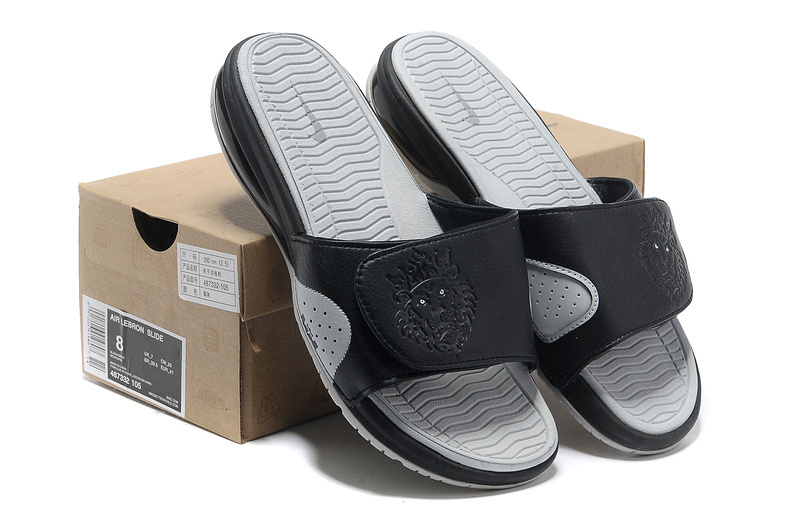 fd1f407ba5a4 Authentic Nike Lebron James Hydro 9 Black Grey Sandal Online Sale
