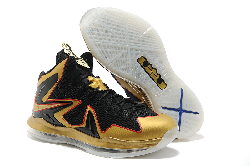competitive price e8fb0 7d13d Nike Lebron James 10 Champion Gold Black Basketball Shoes For Women
