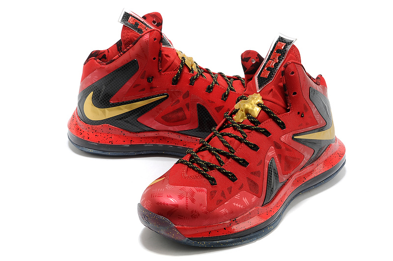 Nike Lebron James 10 Champion Red Gold Black Basketball Shoes For Women