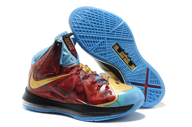 Nike Lebron James 10 Hot Red Gold Blue Basketball Shoes For Women