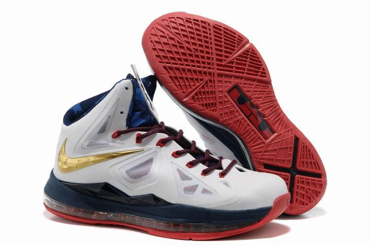 Nike Lebron James 10 USA White Blue Gold Red Basketball Shoes For Women