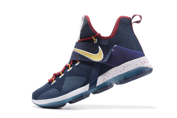 Nike Lebron James 14 American Captain Deep Blue Gold Red Shoes
