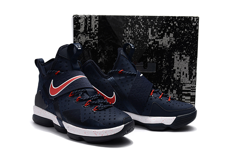 Nike Lebron James 14 Deep Blue Red White Shoes