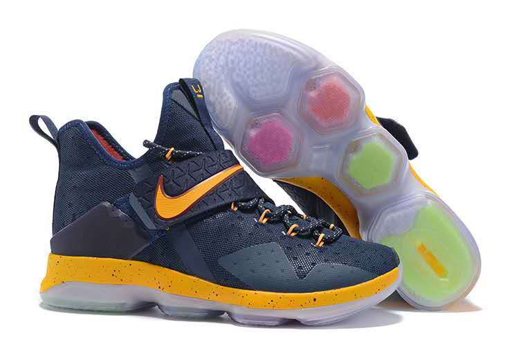Nike Lebron James 14 Deep Blue Yellow Shoes