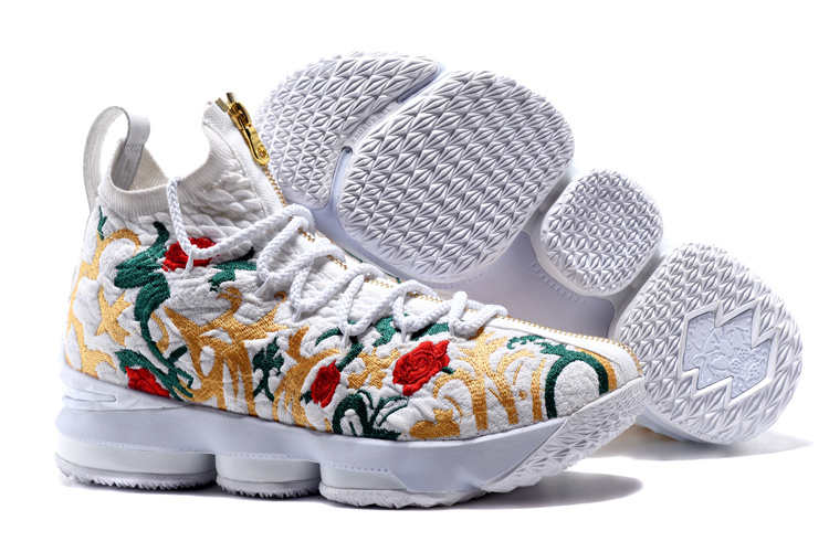 Nike Lebron James 15 Flowers White Shoes