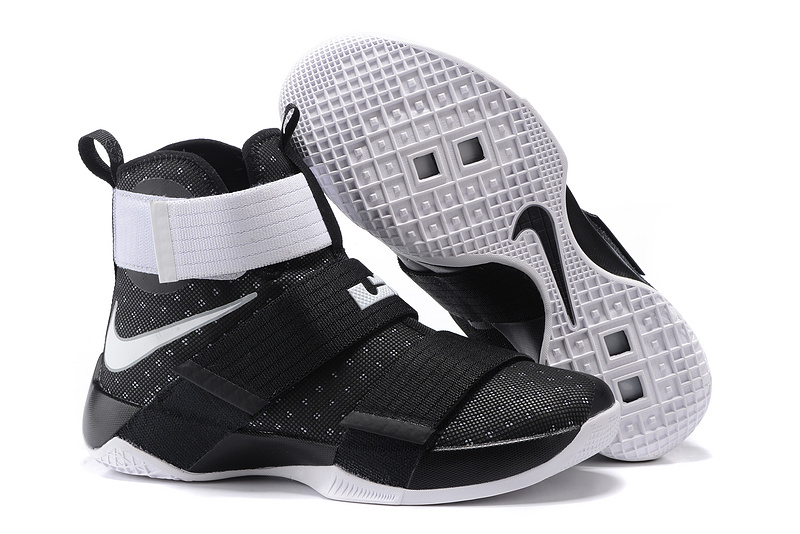 Nike Lebron Soldier 10 All Black White Shoes