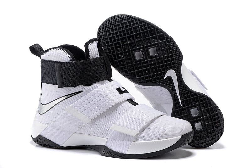 Nike Lebron Soldier 10 All White Black Shoes
