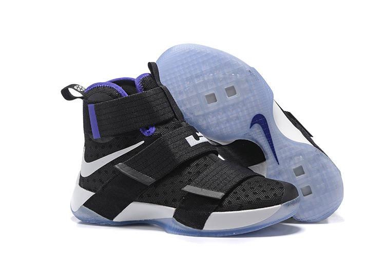 Nike Lebron Soldier 10 Black White Blue Shoes
