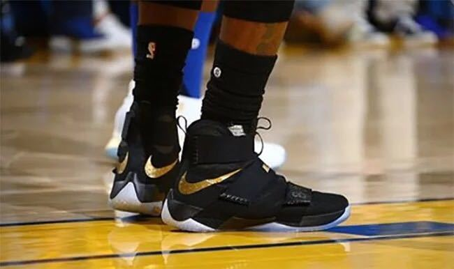 new style eb277 62d85 Nike Lebron Soldier 10 Champion Black Gold Shoes