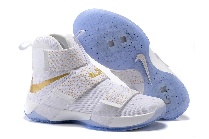 Nike Lebron Soldier 10 White Gold Ponit Shoes