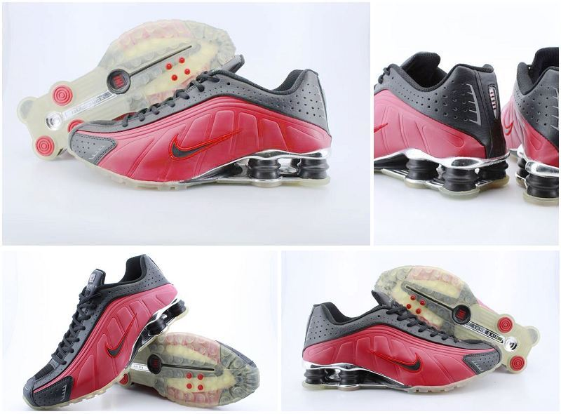 Nike Shox R4 Black Red Transparent Sole Shoes