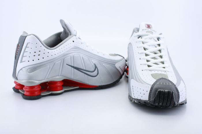 Nike Shox R4 White Grey Red For Men