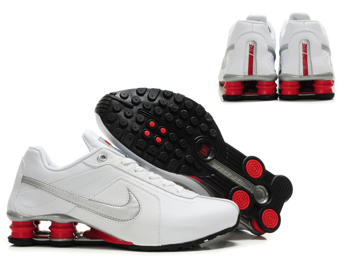 Nike Shox R4 White Red Silver Big Swoosh
