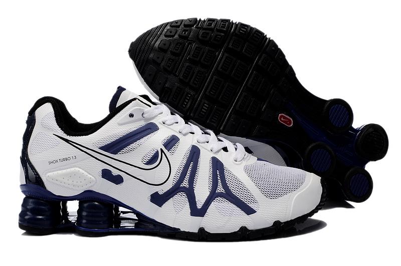 Nike Shox Turbo+13 White Deep Blue Black Shoes  NKOBE3123  -  71.00 ... d3ba95beb