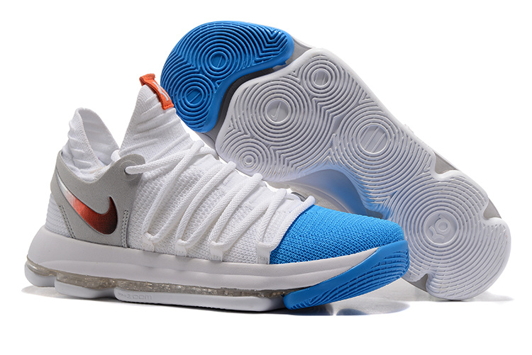 Nike Zoom KD 10 EP White Grey Blue Gold Shoes
