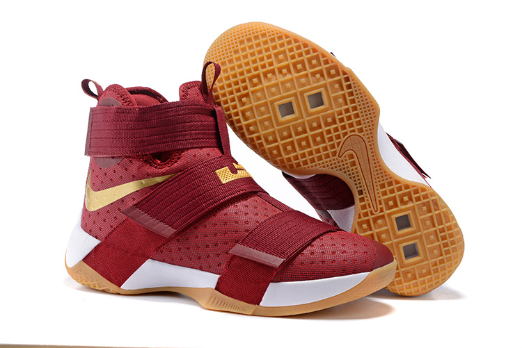 Nike Zoom Lebron Soldier 10 Wine Red Gold White Shoes