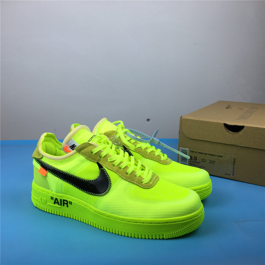 OFF-WHITE x Nike Air Force 1 AO4606-700 Green Black Shoes