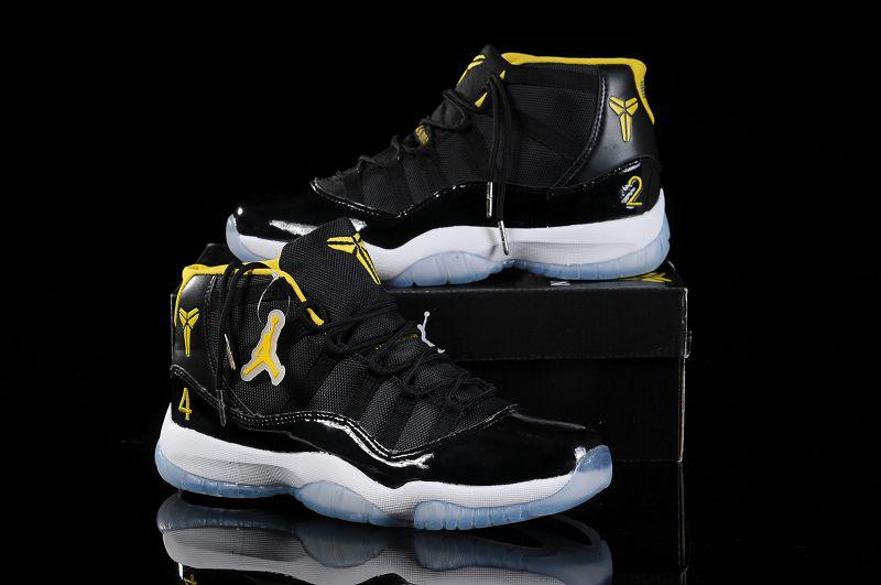 b6f58a5e34db Nike Kobe Air Jordan 11 Black White Yellow Shoes  NKOBE1799 ...