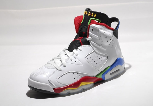 Popular Nike Air Jordan 6 Olympics Edition White Red Blue Shoes