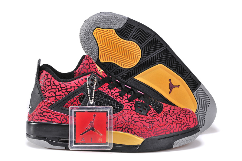 Red Black Yellow Jordan 4 Crack Limited Shoes For Women
