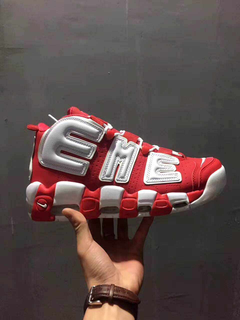Sup Nike Air Uptempo Red White Shoes