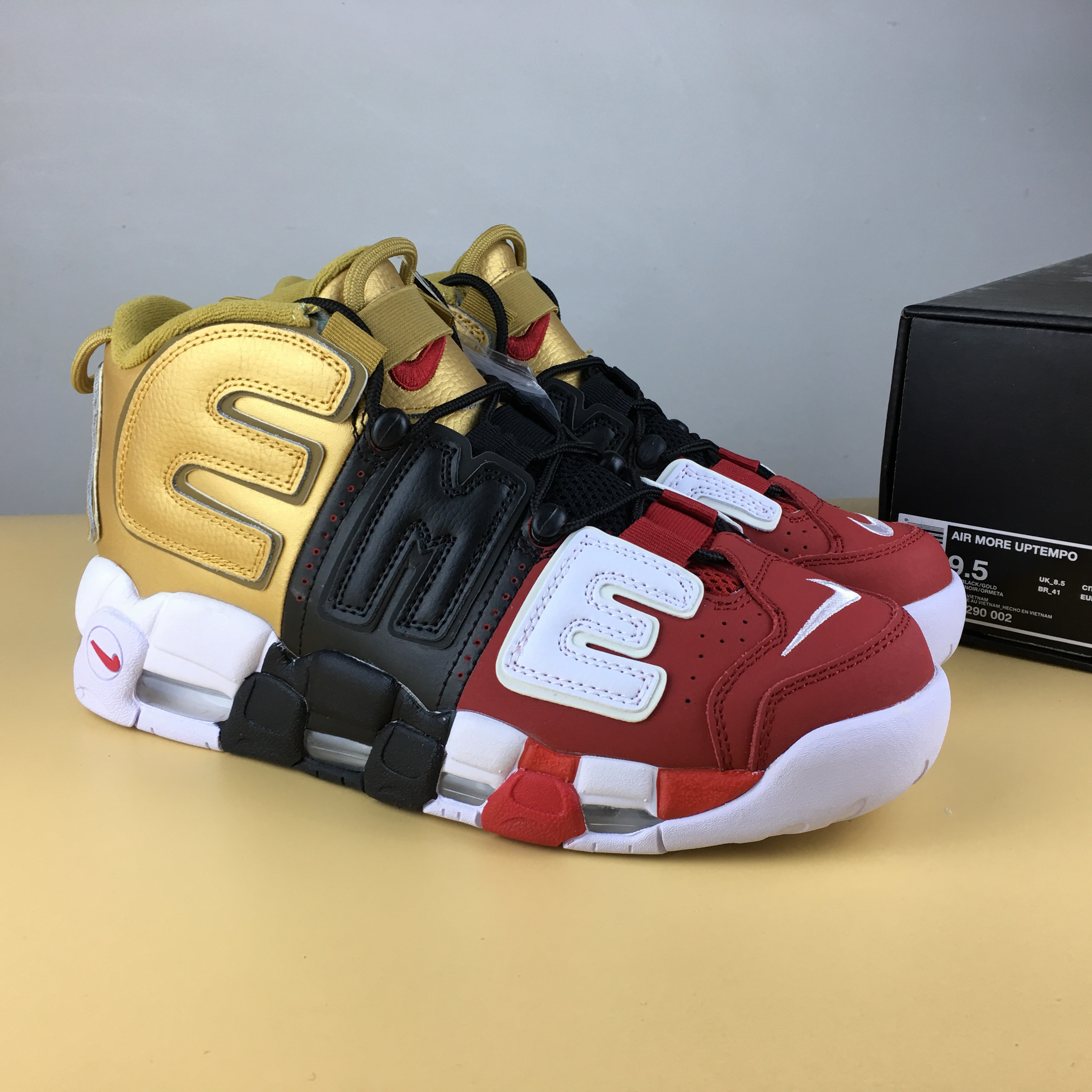 Supreme x Nike Air Uptempo Red Black Gold Shoes