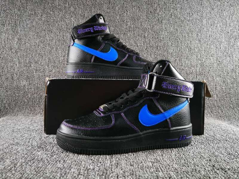 Women VLONE x Nike Air Force 1 High Collection Black Blue Shoes