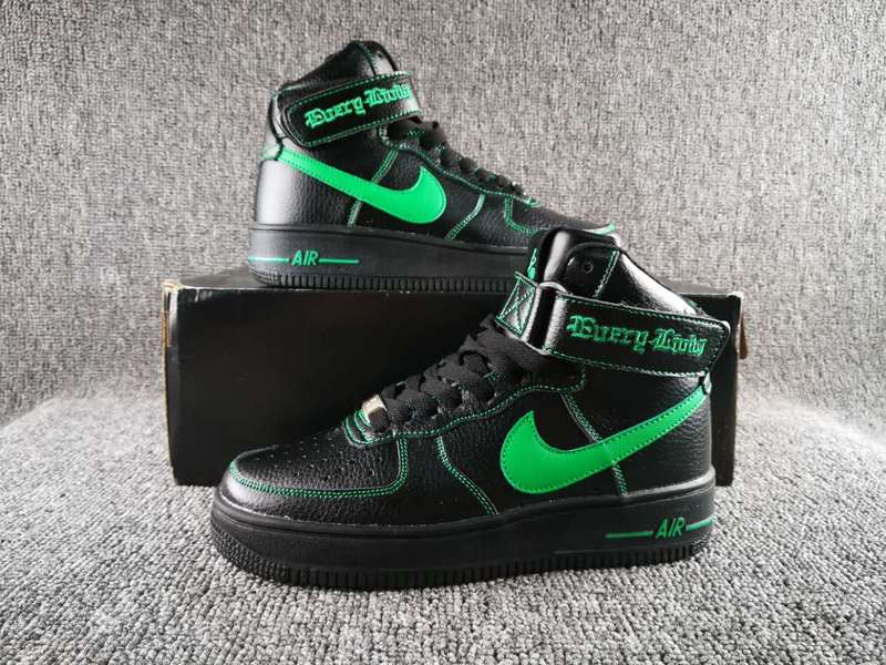 Women VLONE x Nike Air Force 1 High Collection Black Green Shoes
