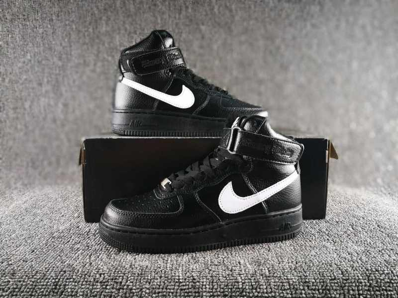 Women VLONE x Nike Air Force 1 High Collection Black White Shoes