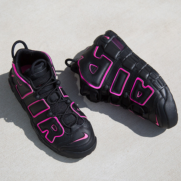 Women Nike Air More Uptempo Black Red Shoes