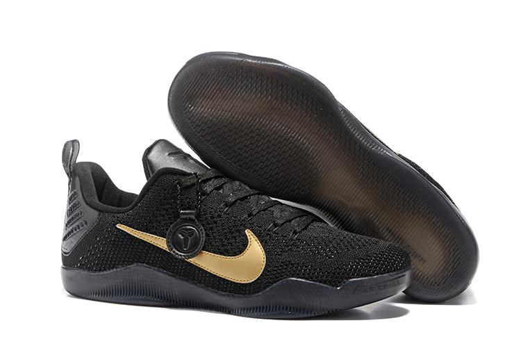 brand new 231eb 4ba32 Women Nike Kobe 11 Flyknit Black Gold Shoes