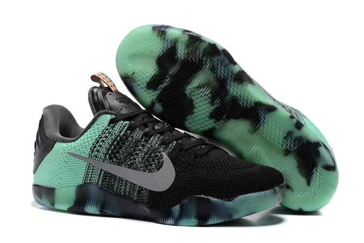 Women Nike Kobe 11 Flyknit Black Green Shoes
