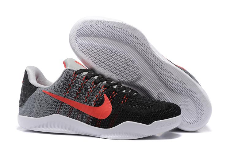 timeless design 212e8 e4d6e Women Nike Kobe 11 Flyknit Black Grey Red Shoes