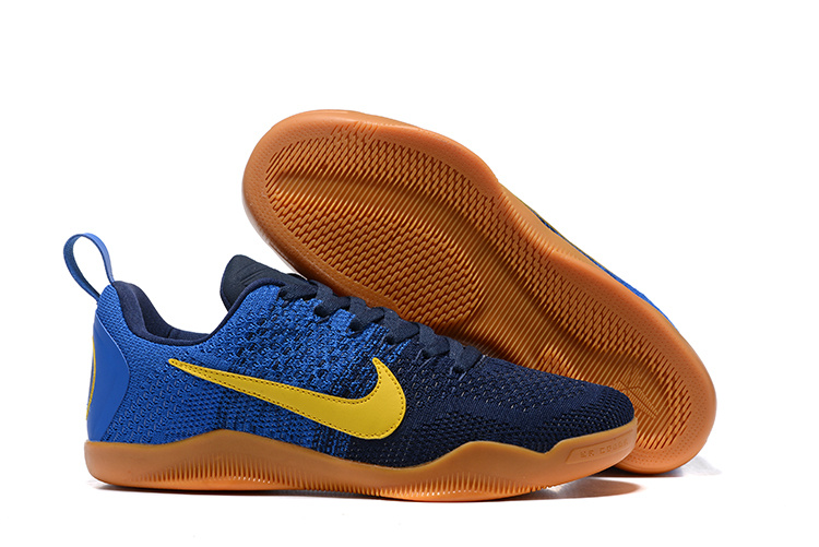 Women Nike Kobe 11 Flyknit Blue Yellow Brown Shoes