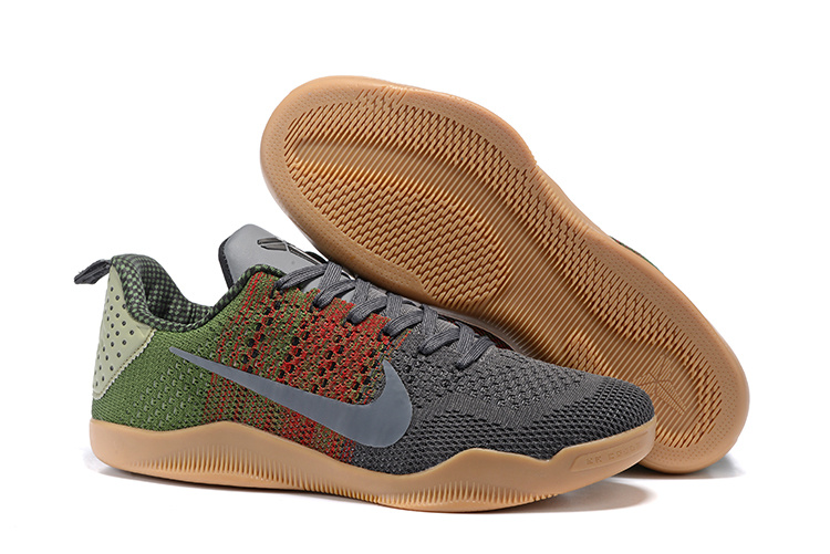 Women Nike Kobe 11 Flyknit Grey Brown Green Shoes
