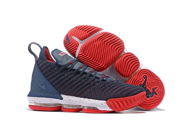 Women Nike LeBron 16 Deep Blue Red White Shoes