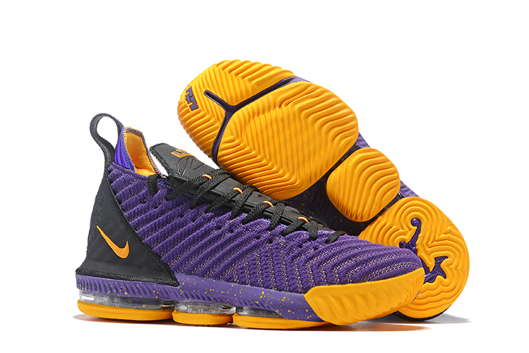 Women Nike LeBron 16 Lakers Purple Yellow Black Shoes
