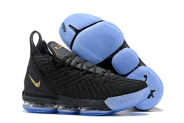 new concept 37903 8c152 Women Nike Lebron James 16 Black Gold Blue Shoes ...
