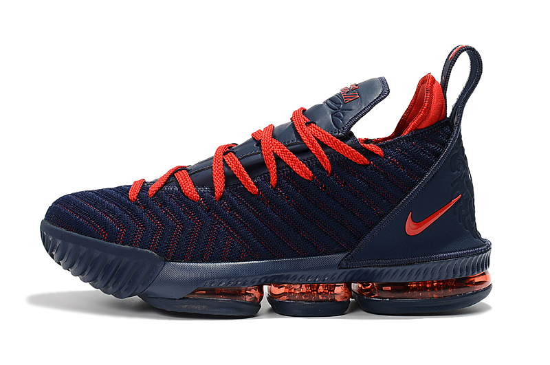 Women Nike Lebron James 16 Deep Blue Red Shoes
