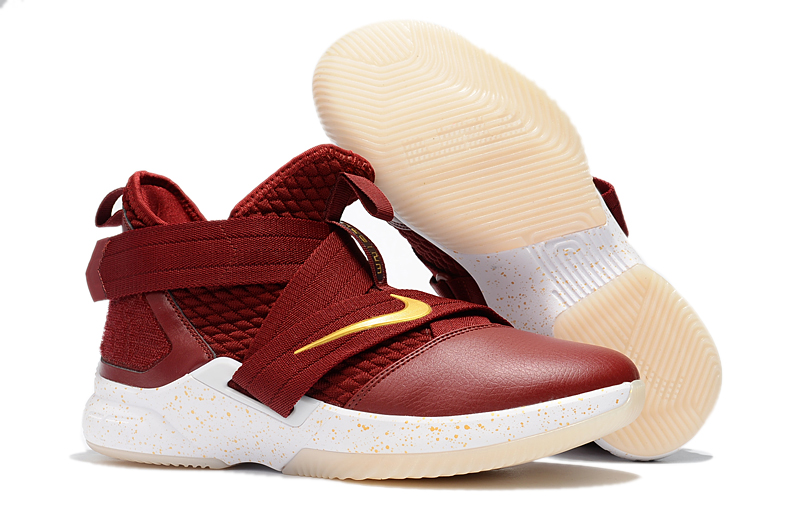 Women Nike Lebron Soldier 12 Wine Red Yellow Shoes