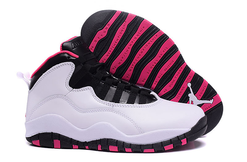 Women Nike Air Jordan 10 GS Vivid Pink Pure Platinum Black Vivid Pink Shoes