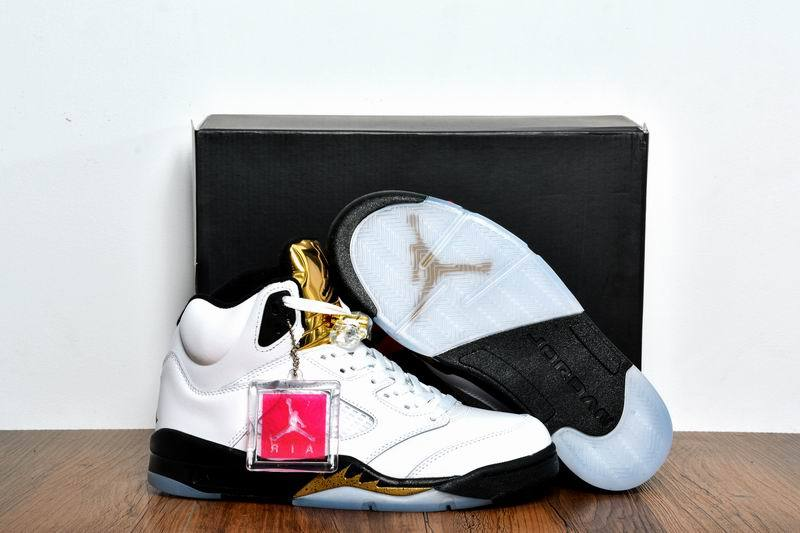 Women Nike Air Jordan 5 Olympic Gold Medal White Black Metallic Gold Coin Shoes