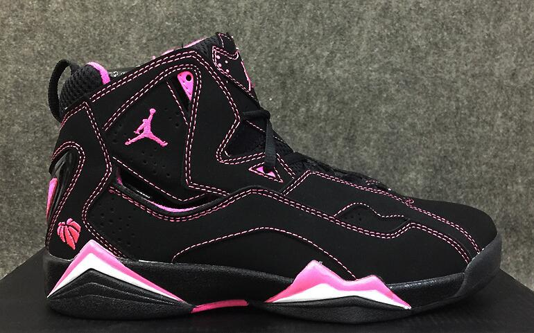 Women Nike Air Jordan 7 GS Improved Dark Black Pink Shoes