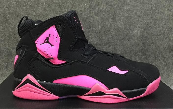 Women Nike Air Jordan 7 GS Retro Pink Black Shoes