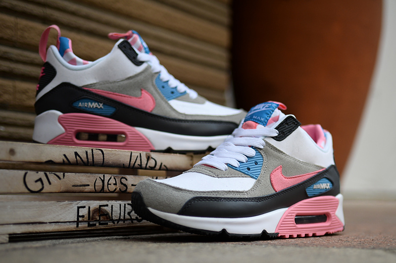 huge selection of 733f2 4d14f 2016 Women s Nike Air Max 90 High Pink Grey Black White
