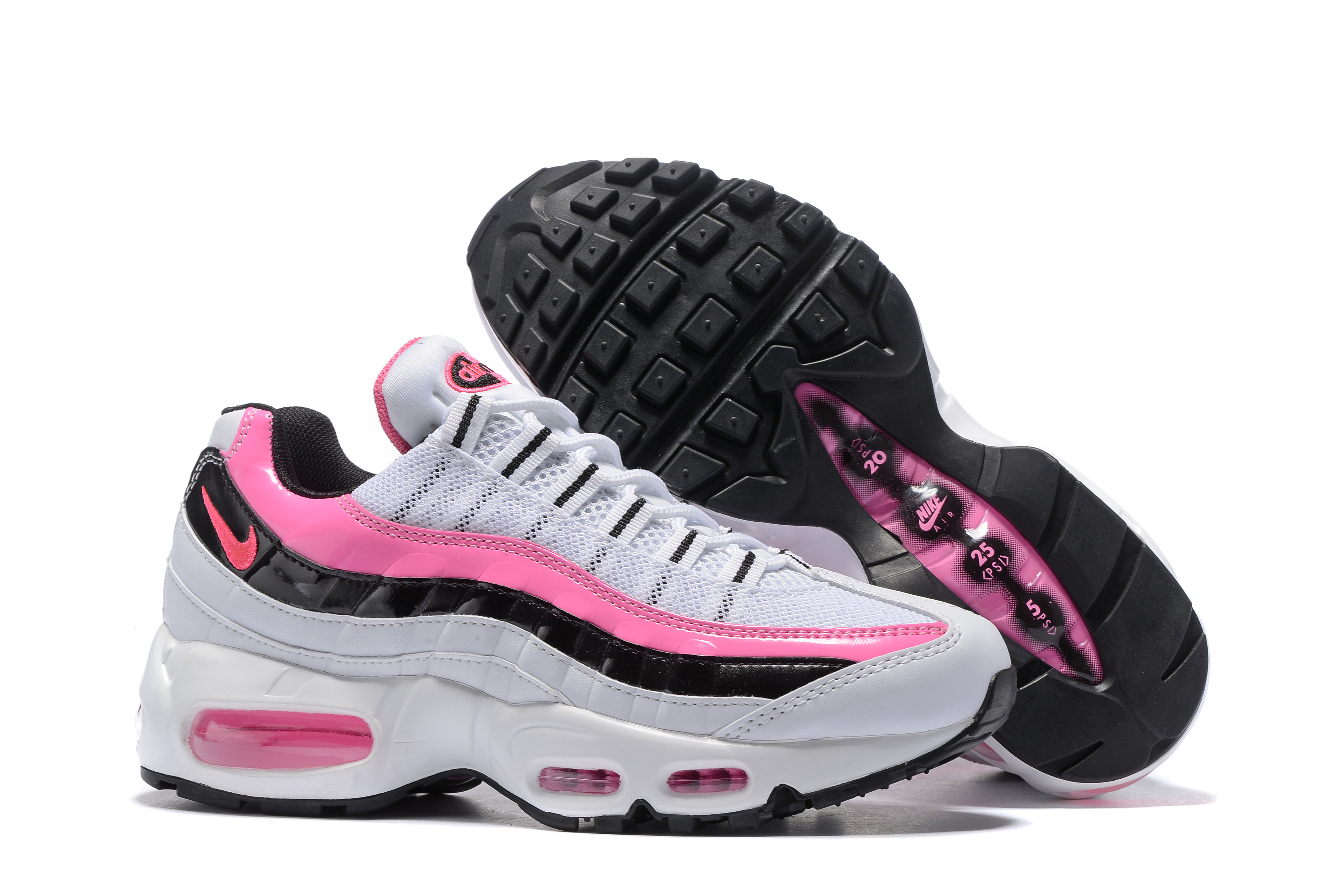 Women Nike Air Max 95 White Pink Black Shoes