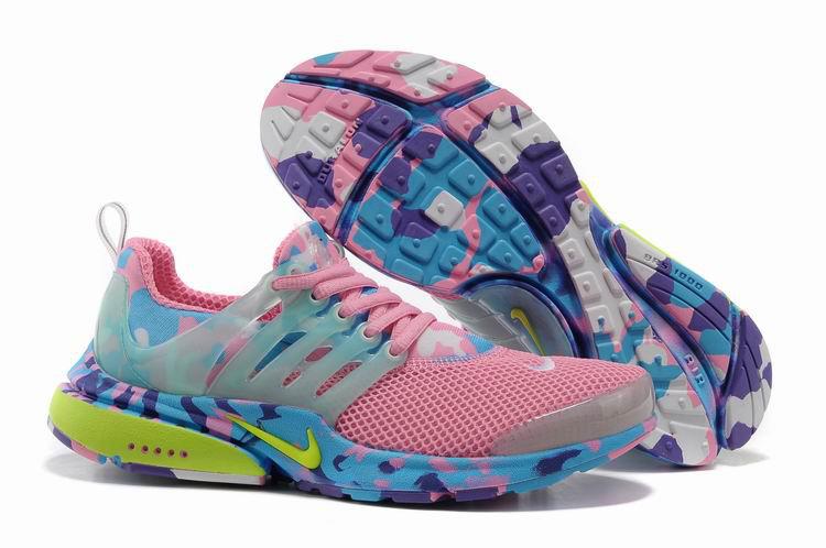 4aa0b28a2aee1 Women Nike Air Presto 1 Camo Pink Blue Yellow Shoes