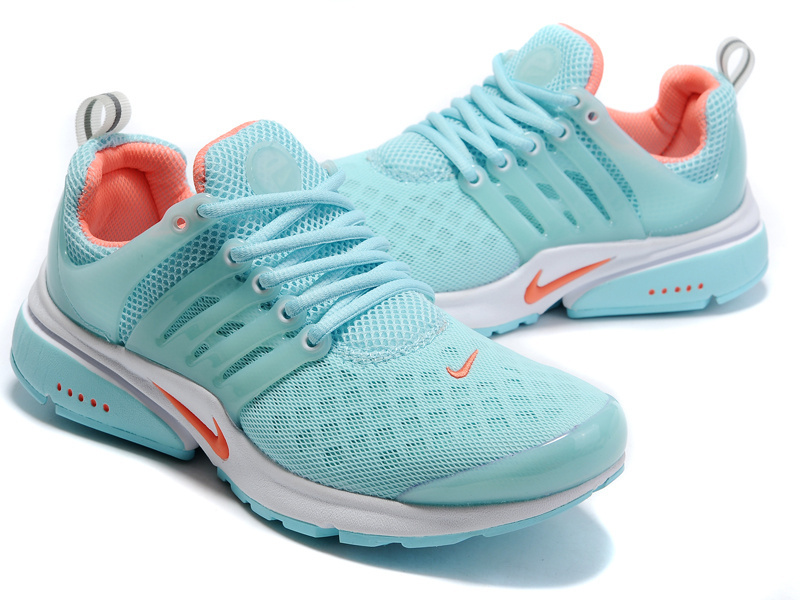Women Nike Air Presto 2 Carve Baby Blue Orange Shoes With Holes